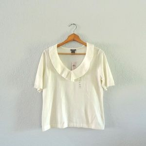 Ann Taylor off-white v-neck ruffle sweater top